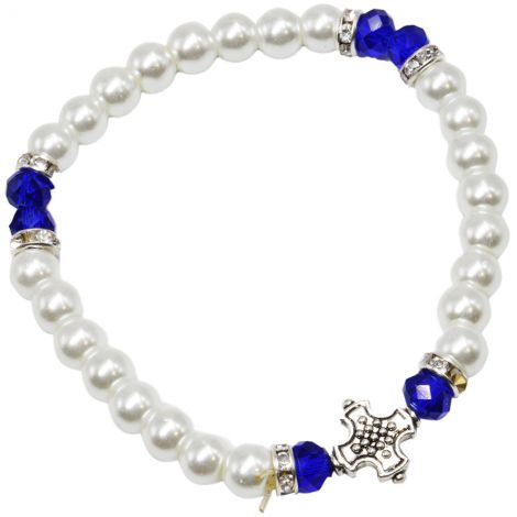 Templar Cross' Blue and White Pearl Bracelet from Jerusalem