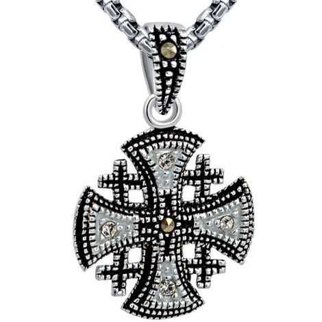 Small 'Jerusalem Cross' - Marcasite and Zircon Silver Pendant