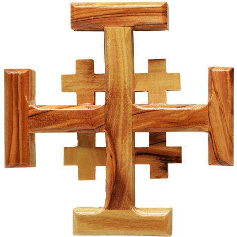 """Olive Wood 'Jerusalem Cross' Made in the Holy Land - 4"""""""
