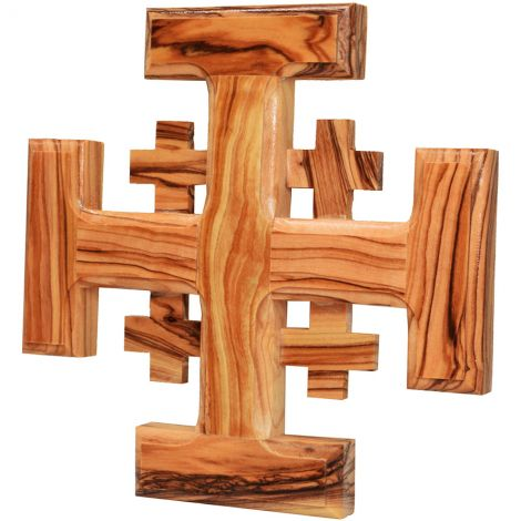 Olive Wood Jerusalem Cross - Made in Holy Land - 6 inch