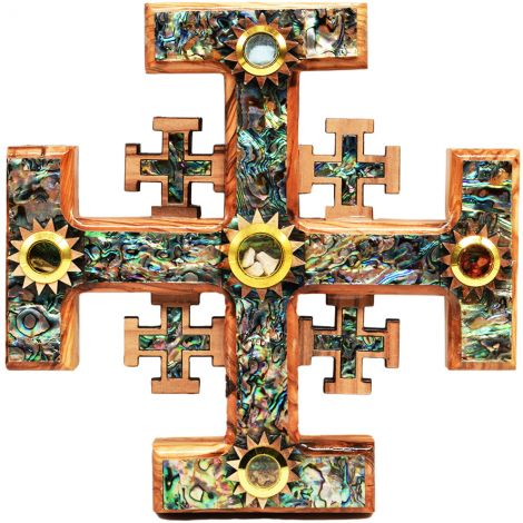 """Olive Wood Jerusalem Incense Cross Mother of Pearl inlay 8"""""""