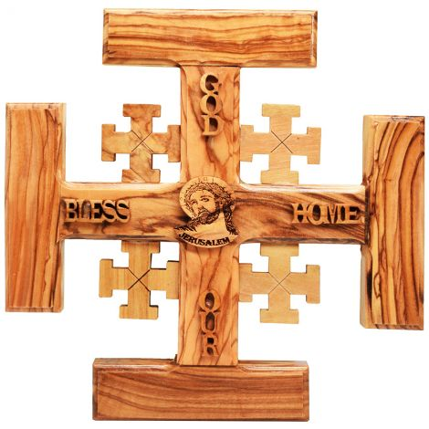 God Bless Our Home' Olive Wood 'Jerusalem Cross' with Jesus
