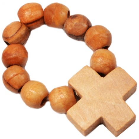 Rosary Ring from Olive Wood Beads with Jerusalem Cross