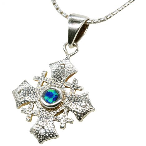 Jerusalem Cross' with Opal in Hammered Sterling Silver Pendant