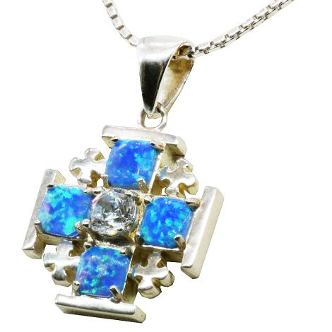 Jerusalem Cross' Sterling Silver and Opal with CZ Crystal Pendant