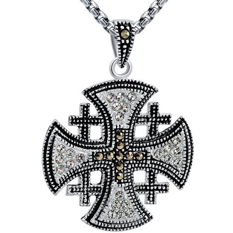 Jerusalem Cross' with Marcasite and Zircon Silver Pendant - md