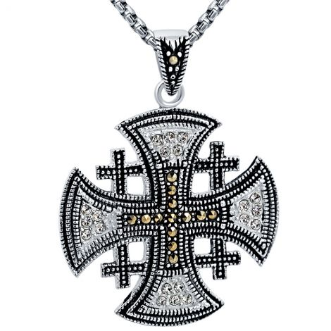 Jerusalem Cross' with Marcasite and Zircon Sterling Silver Pendant