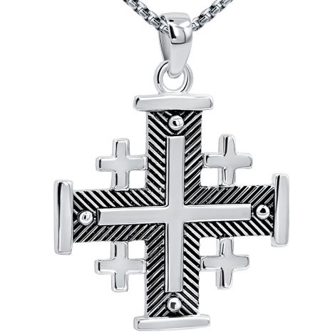 Jerusalem Cross' Fishbone Design in Sterling Silver - Large
