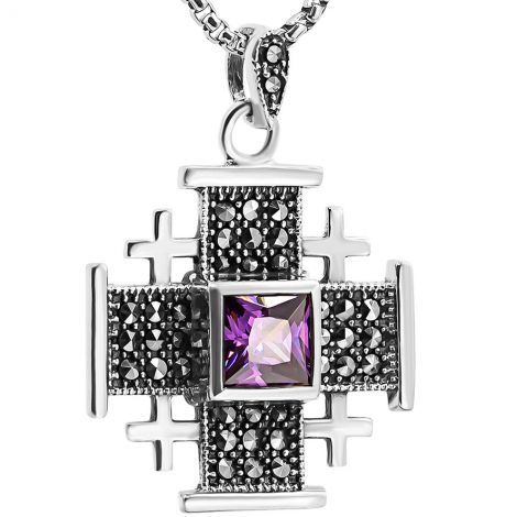 'Jerusalem Cross' Necklace with Marcasite in Sterling Silver - Purple