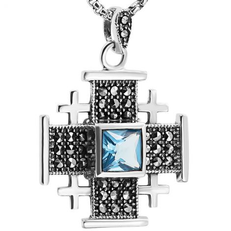 'Jerusalem Cross' Sterling Silver Necklace with Marcasite - Sapphire Blue