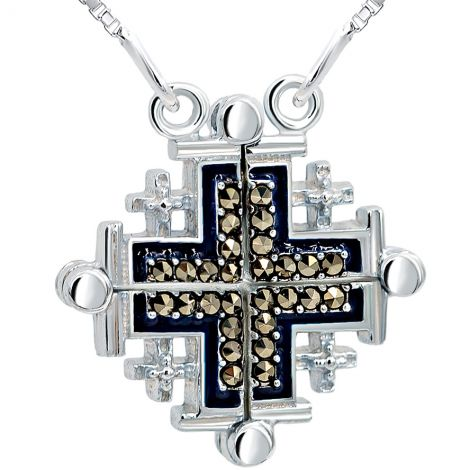 Opening 'Jerusalem Cross' with Blue Enamel and Marcasite Silver Necklace