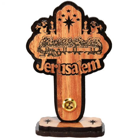 Olive Wood 'Last Supper' Jerusalem with Incense Cross on Stand