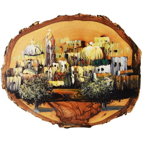 Jerusalem Old City - Oil Painting on Holy Land Olive Wood Slice
