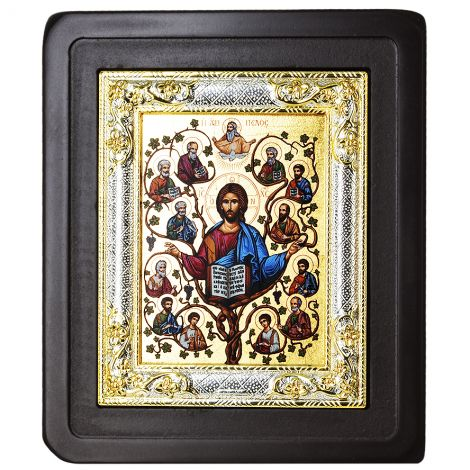 Christ the True Vine' with His 12 Disciples - Icon on a stand
