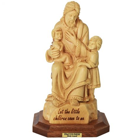 "Jesus ""Let the Little Children Come to Me"" Olive Wood Statue"