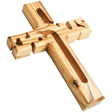 """Jesus Cross' Hand Carved from Olive Wood in Bethlehem - 6"""""""
