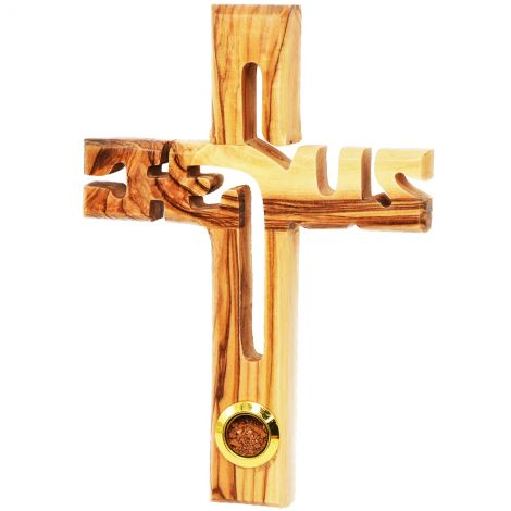 'Jesus Cross' Olive Wood with Jerusalem Soil Wall Hanging - 6""