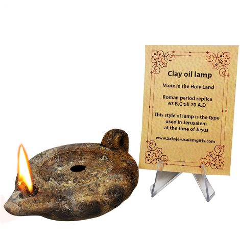Clay Oil Lamp with Handle - Jesus Period replica from Jerusalem