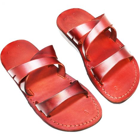 'Preacher Man' Leather Jesus Sandals - Made in Israel - Camel Leather