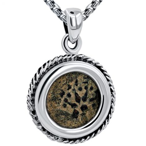 Authentic Biblical Widow's Mite Coin - Silver Pendant