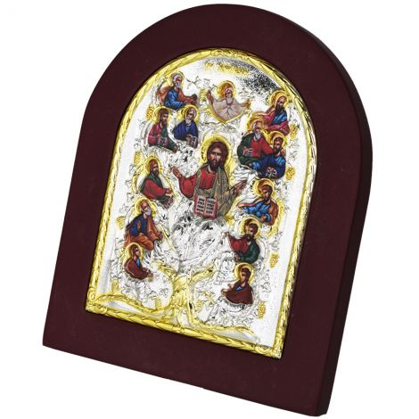 Jesus the True Vine' Icon - Silver and Gold Plated - Wood Frame