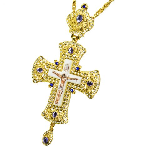 Bishop's Pectoral with Blue Jewels and Zircon Cross with Crucifix