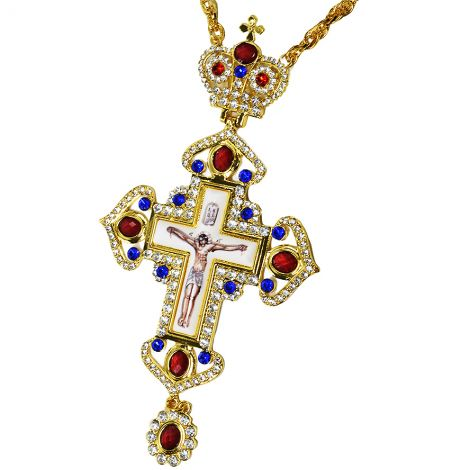 Bishop's Pectoral Cross - Gold Plated Jeweled Necklace with Crown