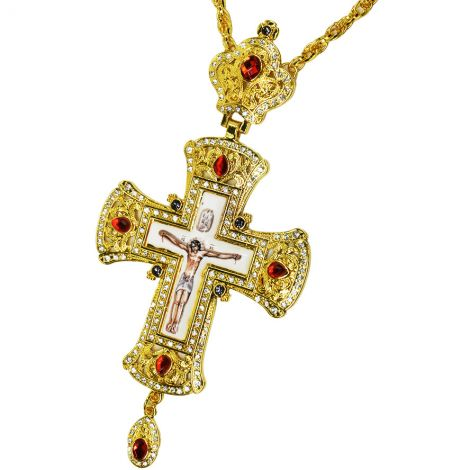Bishop's Pectoral Cross - Gold Plated Jeweled Enameled Crucifix Necklace