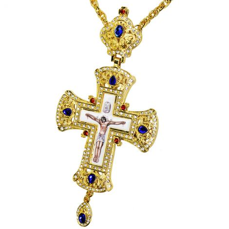 Orthodox Pectoral Cross with Zircon Jeweled Crown and Crucifix