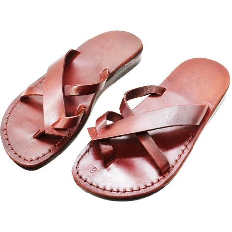 Leather Sandals 'John the Baptist' Made in Israel - Camel Leather