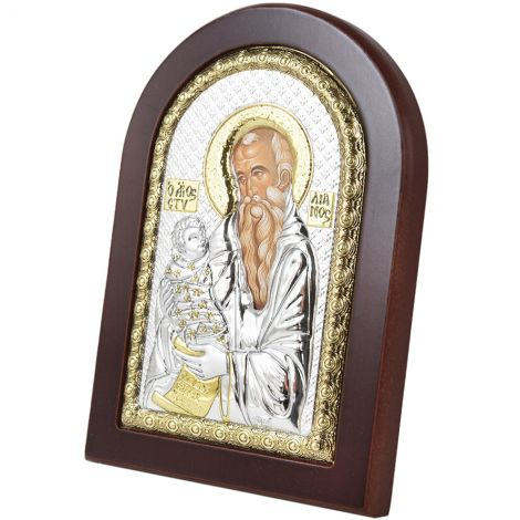 Arched 'Joseph with Baby Jesus' Icon - Silver Plated with Wood
