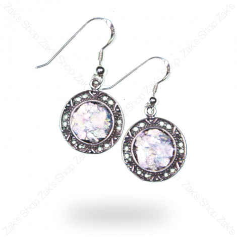Roman Glass - Oval Decorated Jewelry Earrings