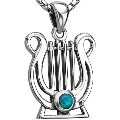 King David Lyre Pendant in Sterling Silver with Opal - Made in Israel