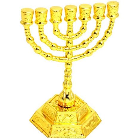 Temple Menorah - Kotel Twelve Tribes Menorah from Israel - Gold 3""