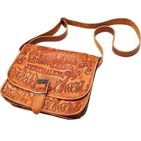 Handmade Leather 'Jerusalem' Shoulder Bag from Israel