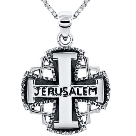 Large 'Jerusalem Knights Templar Cross' 925 Sterling Silver Pendant