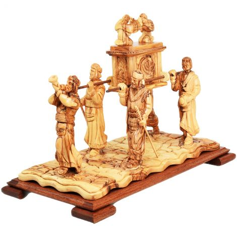 Large 'Ark of the Covenant with Priests' in Olive Wood - Made in Israel