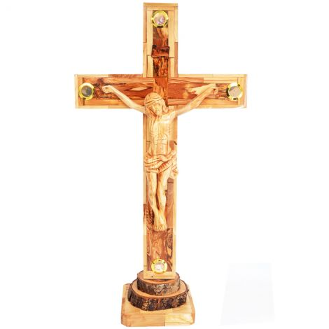 Large Olive Wood Cross and Crucifix from Jerusalem - with 4 Incense 23""