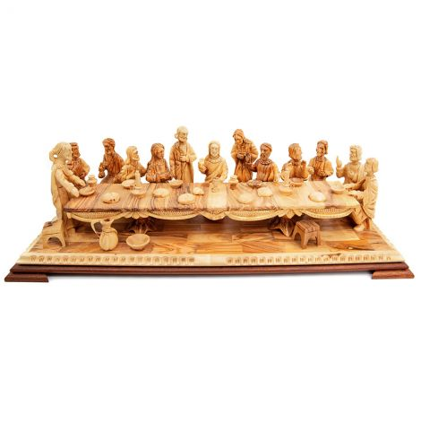 'The Last Supper' Olive Wood Ornament from Jerusalem - 25""