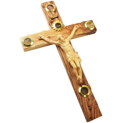 "Olive Wood Cross with Crucifix and 5 Incense Wall Hanging - 14"" inch"