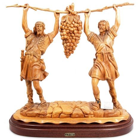 Enormous 'Joshua and Caleb Carrying Grapes' in Olive Wood - Made in Israel