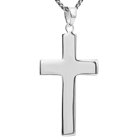 Classic Sterling Silver Cross Pendant with 'Jerusalem' Engraving
