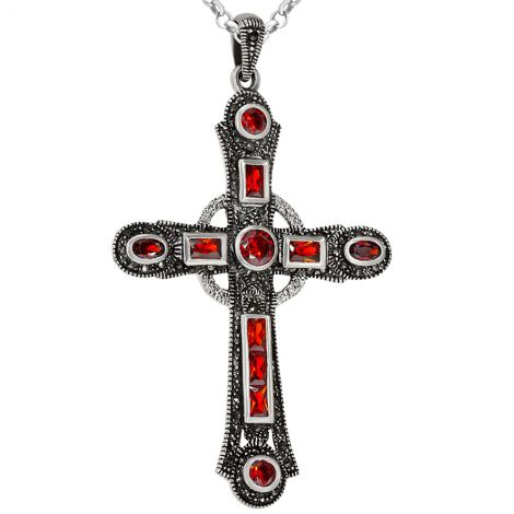 Large Silver Cross Necklace with Blood Red Crystals and Marcasite