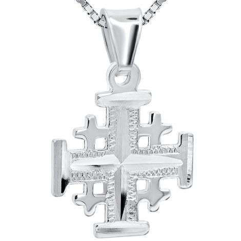 Jerusalem Cross' Laser Etched 925 Sterling Silver Pendant - 15 mm