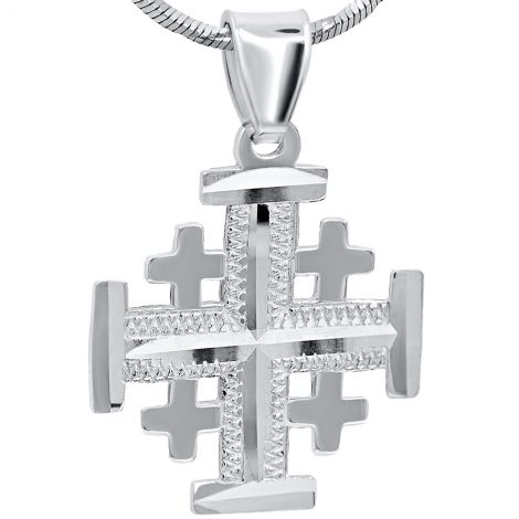 Jerusalem Cross' Laser Etched 925 Sterling Silver Pendant - 22 mm