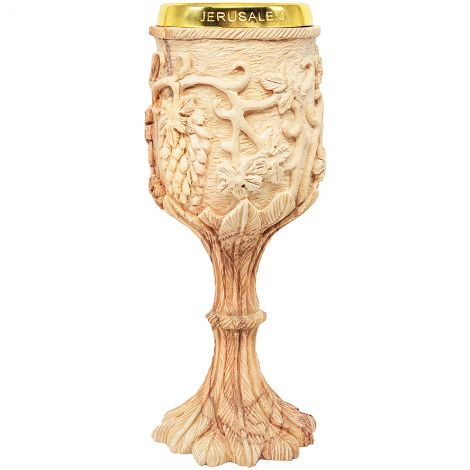 Exclusive 'The Lord's Supper' Carved Grape Vine Olive Wood Cup - 8""
