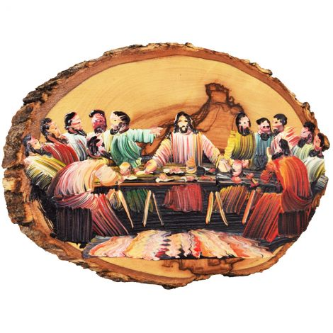 The Last Supper - Oil Painting on Olive Wood Slice from Bethlehem