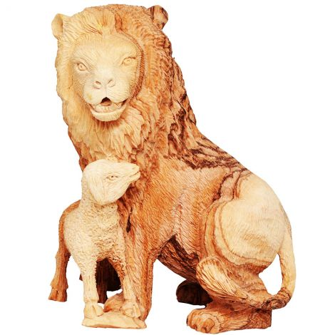 Exclusive 'Lion and the Lamb' Olive Wood Biblical Ornament - 6""