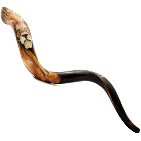 Artistic 'Lion of Judah' Hand-Painted Kudu Shofar - Made in Israel