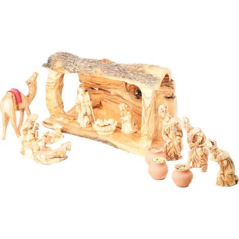 Olive Wood Log Nativity Set with Gifts of the Wise Men in Clay Pots and a Camel